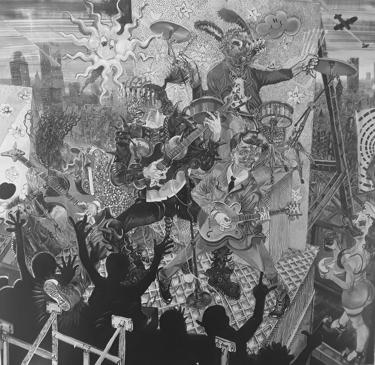 Painting - La musica obscura, 2019, Acryl auf Leinwand, 200 x 210 cm
